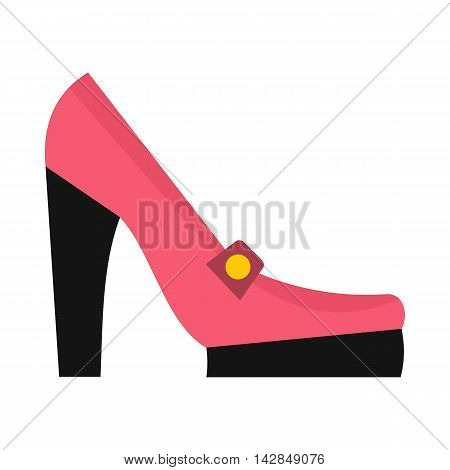 Pink high heel shoe icon in flat style on a white background