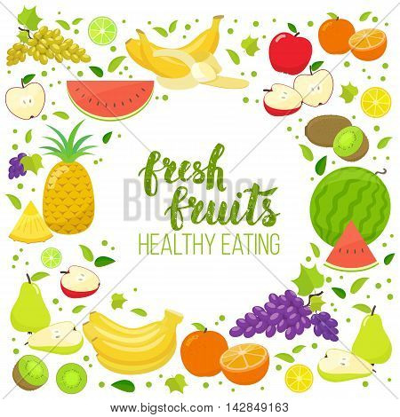 Round frame with colorful fruits. Template for packaging cards posters menu. Handwritten lettering organic food. Vector stock illustration