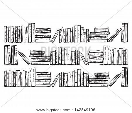 Bookcase with lots of books. Hand drawn books shelves