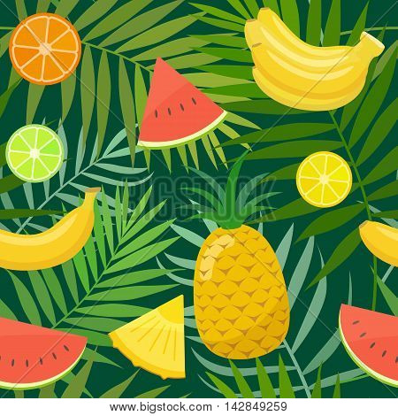 Seamless pattern of palm leaves and fruits. Vector stock illustration.