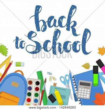Set of different items for education. Back to school lettering. Vector stock illustration.