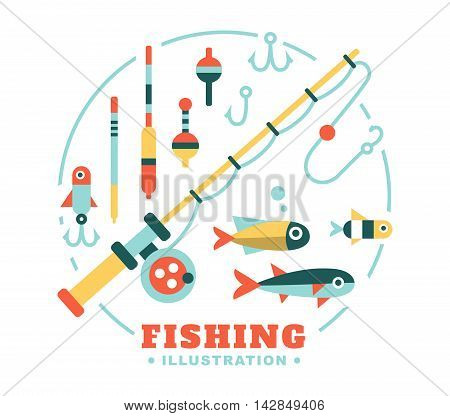 Set of illustrations on the theme of fishing