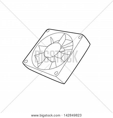 Computer case cooling fan icon in outline style on a white background