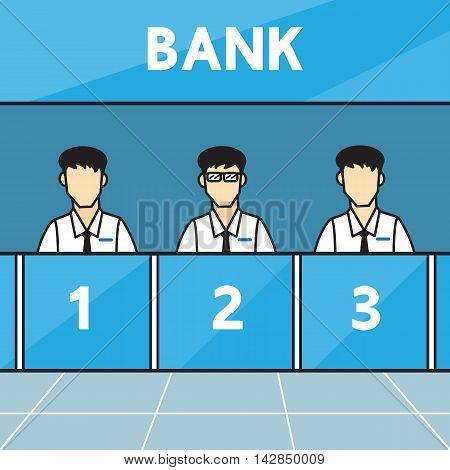 Bank counters . Vector  design for business .