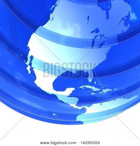 Globo 3D terra vítreo focado na América do Norte