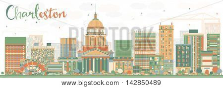 Abstract Charleston Skyline with Color Buildings. West Virginia. Business Travel and Tourism Concept with Modern Buildings. Image for Presentation Banner Placard and Web Site.