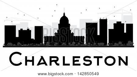 Charleston City skyline black and white silhouette. Simple flat concept for tourism presentation, banner, placard or web site. Business travel concept. Cityscape with landmarks