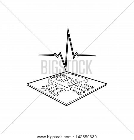 CPU with a heart beat icon in outline style on a white background