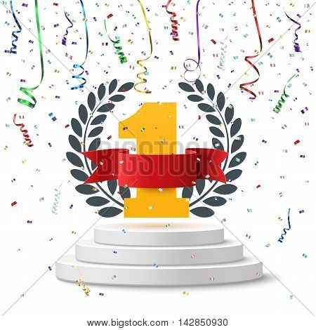 Number one background with blank, red ribbon, olive branch and confetti on round pedestal isolated on white. Poster or brochure template. Vector illustration.
