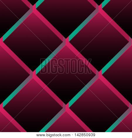 Seamless pattern colorful background. Dark surface with 3-D effect cubes in perspective. Old retro wallpaper with repetition geometric shape.