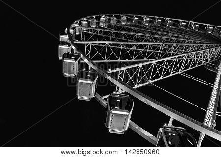 Ferris Wheel in Black and White Seattle