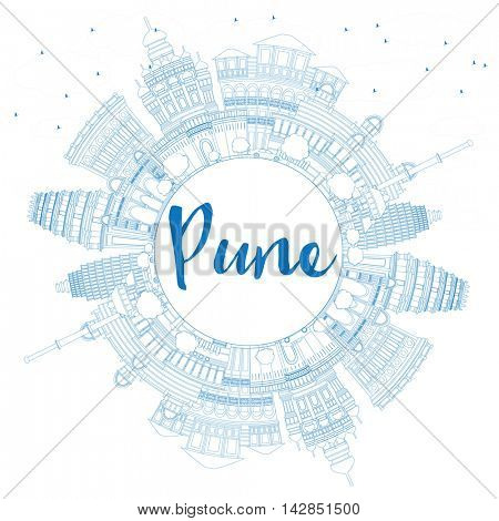 Outline Pune Skyline with Blue Buildings and Copy Space. Business Travel and Tourism Concept with Historic Buildings.