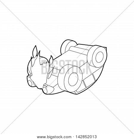 Car accident icon in outline style on a white background
