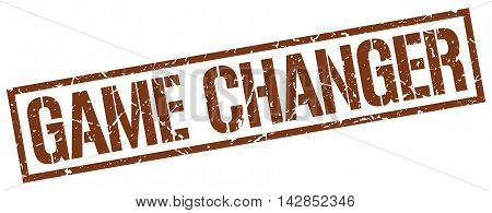 game changer stamp. brown grunge square isolated sign
