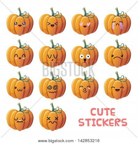 Set of cute pumpkin emoji stickers. Good for Halloween or harvest holiday decoration. Isolated objects on white background.