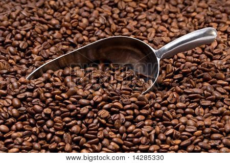 Metal Scoop Partially Buried In Coffee Beans