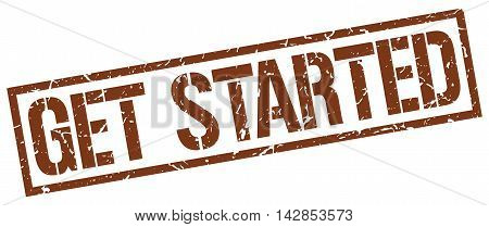 get started stamp. brown grunge square isolated sign