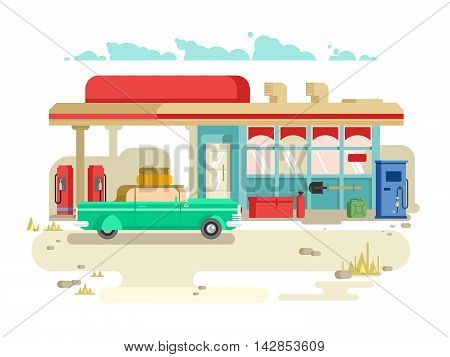 Gas stantion retro flat design. Petrol pump, service and fuel, vector illustration