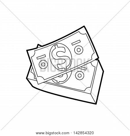 Dollar bills icon in outline style on a white background