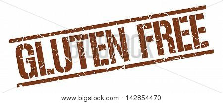 gluten free stamp. brown grunge square isolated sign