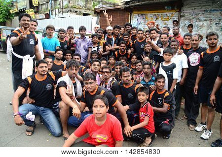 AMRAVATI, MAHARASHTRA, INDIA - AUGUST 24 : Crowd of young People enjoying