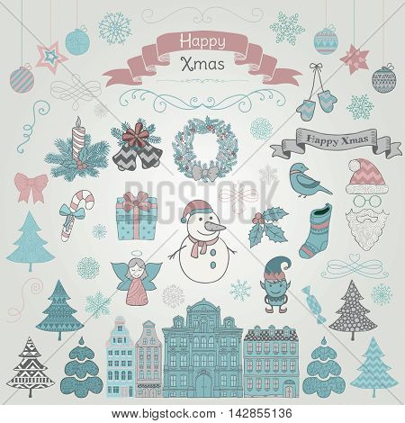 Set of Colorful Hand Drawn Artistic Christmas Doodle Icons. Xmas Vector Illustration. Sketched Decorative Design Elements, Cartoons. New Year