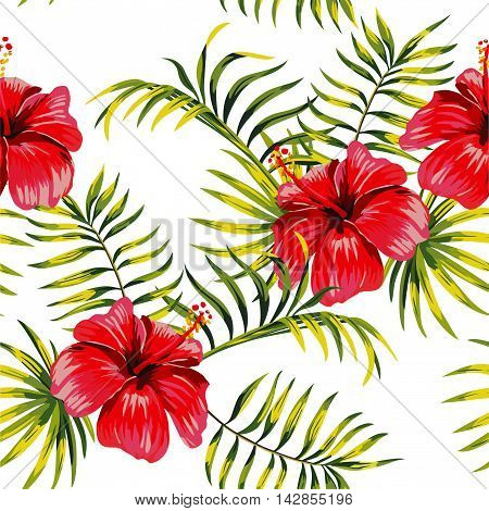 Fashion painting floral print seamless exotic pattern with tropical palm leaves and flowers hibiscus on a white background. Vector illustration.