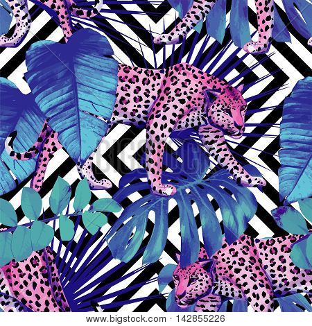 Tropical summer floral safari with exotic animals leopard and tropic plants and leaves hand drawn watercolor trendy blue style. Seamless vector pattern on black and white geometric background