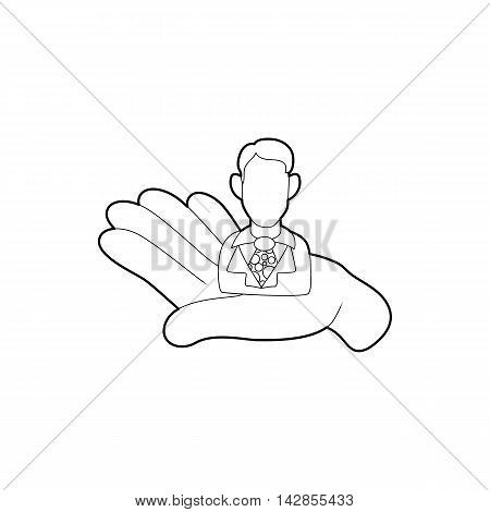 Hand holding a candidate for the job icon in outline style on a white background