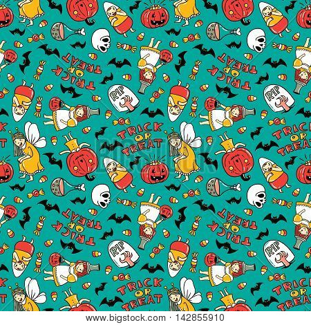 Halloween seamless pattern design. Vector background with children in costumes pumpkin sweets and stylish lettering 'Trick or tread'