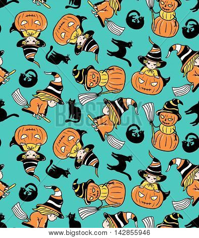 Colorful childlike seamless pattern with witches and pumpkins. Vector halloween pattern.