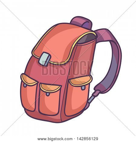 School bag or backpack. Vector Illustration. Isolated on white.