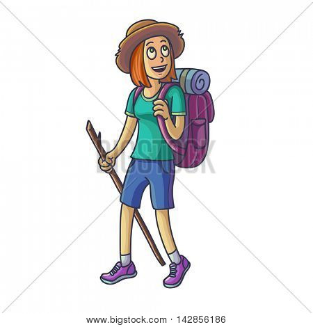 Hiking girl. Travelling young woman lost or walking. Vector illustration. Isolated on white.