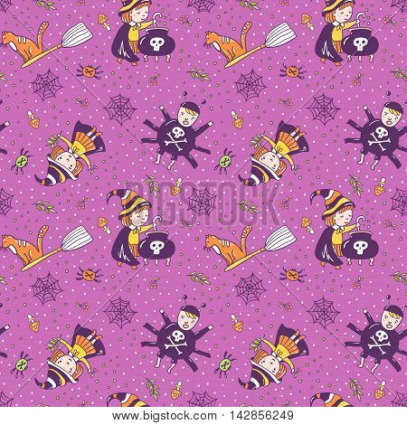 Violet background with the witch a spider and a potion from magic herbs. Festive seamless texture. Vector seamless pattern for halloween design.
