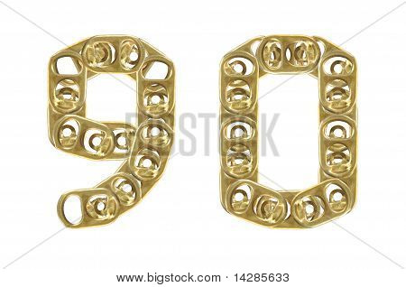 ring pull of cans numbers 9 0 isolated on white background