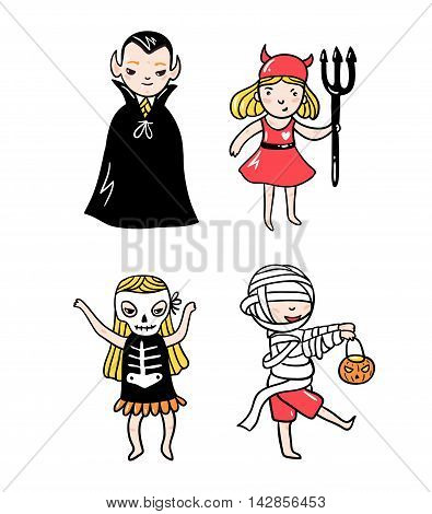 Set of halloween characters. Children in costumes. Vampire devil ghost and skeleton isolated on the white background. Vector illustration.