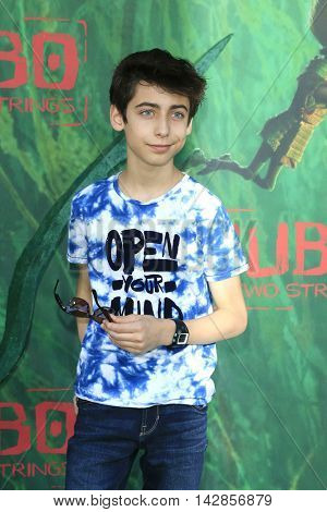 LOS ANGELES - AUG 14: Aidan Gallagher at the premiere of Focus Features' 'Kubo and the Two Strings' at AMC Universal City Walk on August 14, 2016 in Los Angeles, California