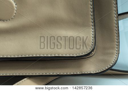 Brown fashion Leather With Seam background .