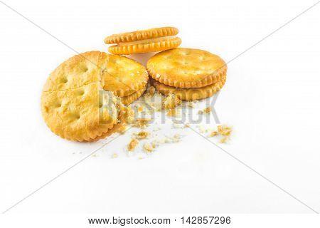 many orange Cracker with cream on white background.