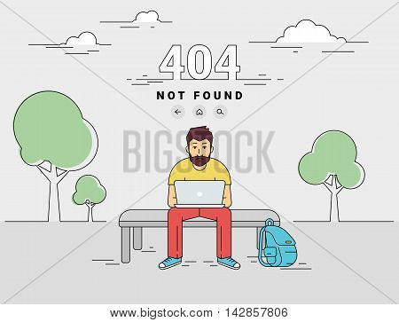 404 error page not found illustration of young man is sitting with laptop outdoors and seeing 404 error. Flat outlined illustration of upset guy working with laptop and getting problems with website