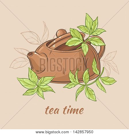 Vector Illustration with brown teapot with tea leaves on brown background