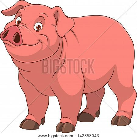Vector illustration adult funny piggy smiling on a white background