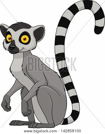 Cartoon monkey lemur vector illustration. Monkey lemur animal and jungle cartoon wild life. Monkey cute types cute primate isolated. Lemur zoo jumping chimpanzee mammal.