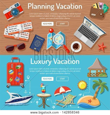 Planning Luxury Vacation and Tourism Horizontal Banners with Flat Icons for Mobile Applications, Web Site, Advertising like Planning, Booking, Tickets, Money, Bungalows, Island, Map and Cocktail.