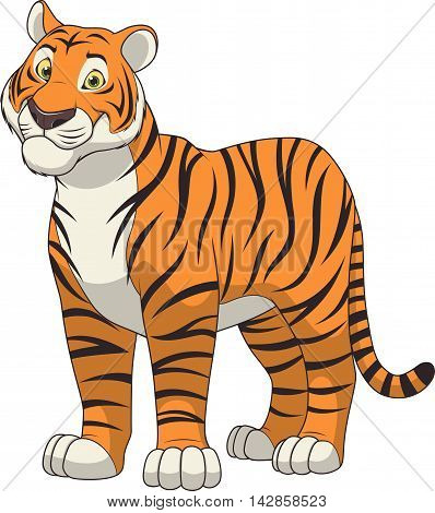 Vector illustration adult funny tiger smiling on a white background