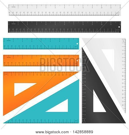 Rulers and triangle with inches, centimeters and millimeters scale. Tool education, measurement instrument set. Vector illustration