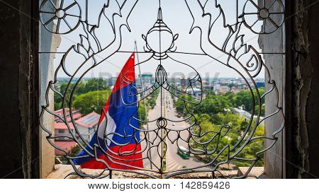 View from Patuxai arch monument, Vientiane, the Capital of Laos