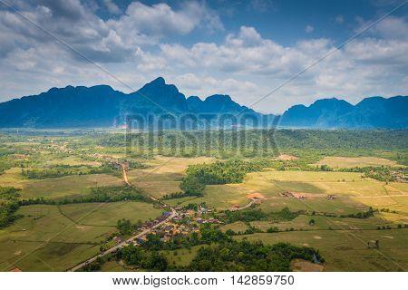 Top view on Pha Ngern Mountain at Vang Vieng, Laos