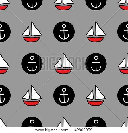 Seamless sea background. Hand drawn pattern. Suitable for fabric, greeting card, advertisement, wrapping. Bright and colorful sailing ships and anchor seamless pattern