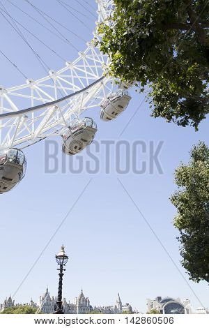 Coca Cola London Eye On A Sunny Day With Trees And London Sky Line Framing